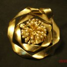 Vintage? Gold Colored, Ribbon Bow Shaped with Pearl Starburst Pin or Brooch