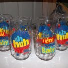 Set of Four Diet Pepsi Glasses uh huh! You Got The Right One Baby 1970's Promo