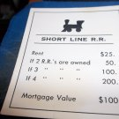 1974 Parker Brothers Monopoly Deed Card Short Line Railroad