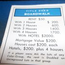 1974 Parker Brothers Monopoly Deed Card Boardwalk