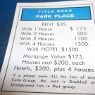 1974 Parker Brothers Monopoly Deed Card Park Place