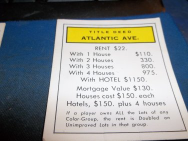 1974 Parker Brothers Monopoly Deed Card Atlantic Ave