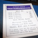 1974 Parker Brothers Monopoly Deed Card Mediterranean Ave