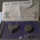Vintage Rosette Iron Set in Box - 2 shapes, Heart & Round with Handle Cast Iron