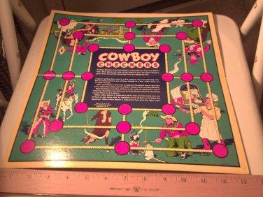 Cowboy Checkers E.E. Fairchild 1950's? Checker Board BOARD ONLY No Parts