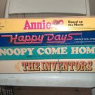 Lot of 4 VINTAGE Board Games, Annie, Happy Days, The Inventors, Snoopy Come Home