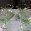 Vintage Green Depression Glass Set of Four (4) Sherbert Dishes or Side Dish Cups