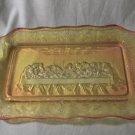 1950s Mid Century Amberina Glass Tray Dish Last Supper Grape Leaf Indiana Glass