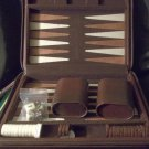 BACKGAMMON GAME, TRAVEL SIZED, BRIEFCASE STYLE, BROWN LEATHER