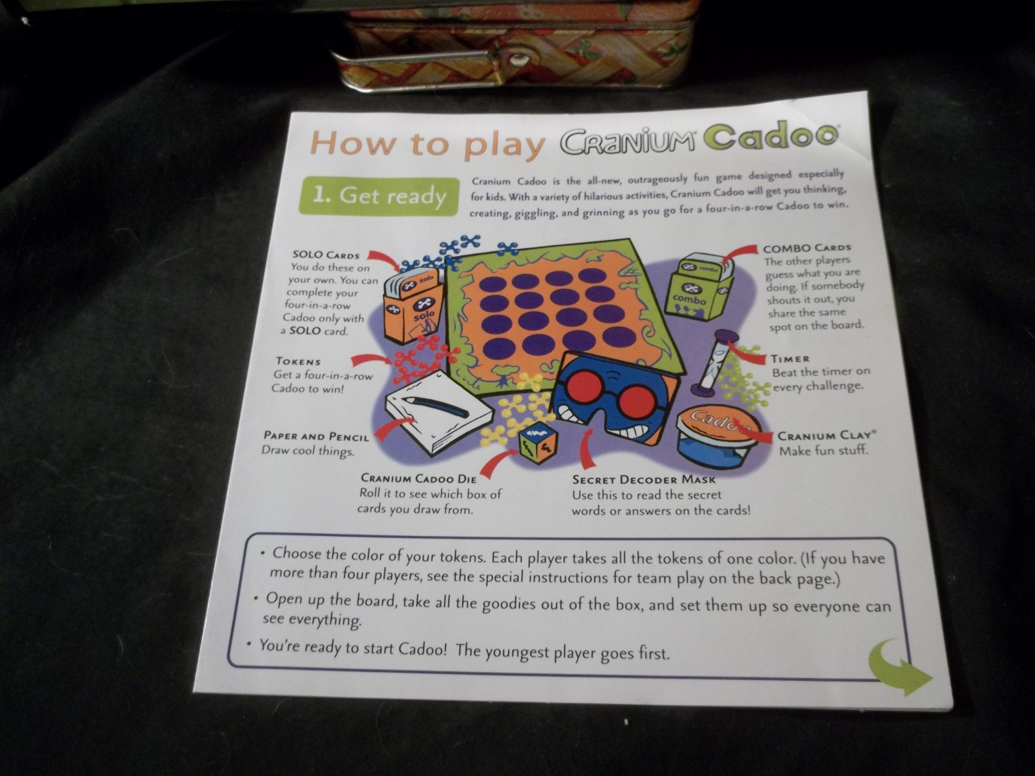 2002 Cranium Cadoo 4 Kids Game Part Only Game Rules