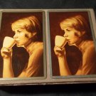 Vintage Congress Double Deck Playing Cards in Flocked Case & Cel u tone Finish