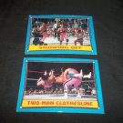 Lot of 2 1987 Topps WWF Wrestling Card #63 Showing Off & #22 Two Man Clothesline