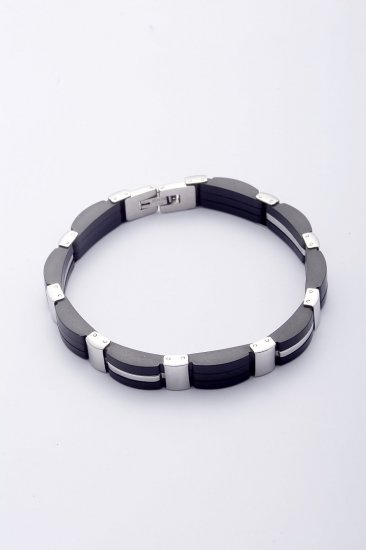 TRENDY STEEL JEWELLERY BRACELET WITH PU LINKS