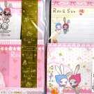 Kawaii San-X Japan Ruu & Suu Bunny Rabbit Jumbo Letter Set w/ Stickers