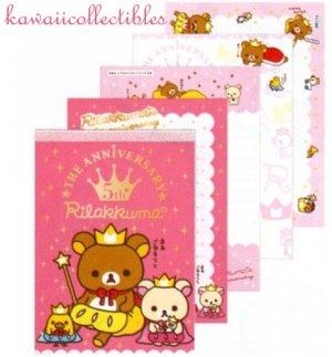 Kawaii San-X Japan Rilakkuma 5th Anniversary Memo Pad Stationery w/ Stickers NEW