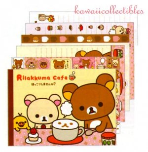Kawaii San-X Japan Rilakkuma Korilakkuma Cafe Memo Pad Stationery w/ Stickers NEW