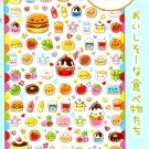 Kawaii Q-lia Japan Smile Pocket Happy Foods Glitter Sparkly Stickers Sticker Sheet NEW