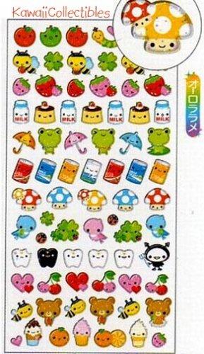 Kawaii Q-lia Japan Smile Pocket Friends Glitter Sparkly Stickers Sticker Sheet NEW