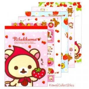 Kawaii San-x Japan Rilakkuma Strawberry / Little Red Riding Hood Memo Pad w/ Stickers NEW (B)