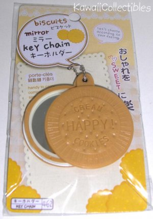 Kawaii Biscuit Cream Cookie Mirror Key Chain NIP