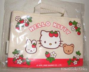 Kawaii Sanrio Hello Kitty Strawberry Mini Tote Bag Keychain Bonus Card Prize 2005 NIP