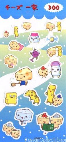 RARE Kawaii San-X Japan Cheese Family Sticker Sheet Blue NIP