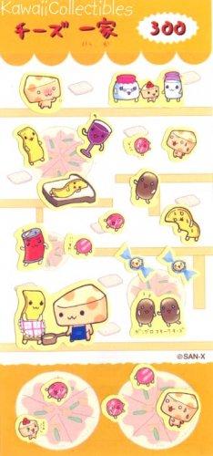 RARE Kawaii San-X Japan Cheese Family Sticker Sheet Yellow NIP