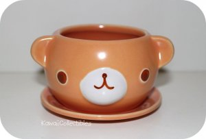 Kawaii Bear Ceramic Flower Pot with Saucer NEW