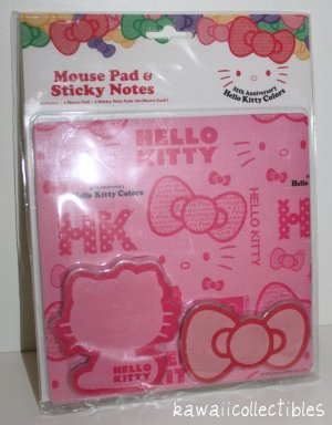Sanrio Hello Kitty 35th Anniversary PINK Mouse Pad & Sticky Notes 2009