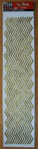 Self-Adhesive Sticker Borders - GLITTER ZIG ZAGS GOLD - Great for scrapbooking and more!
