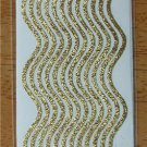 Self-Adhesive Sticker Borders - GLITTER WAVE GOLD - Great for card making, scrapbooking, and more!