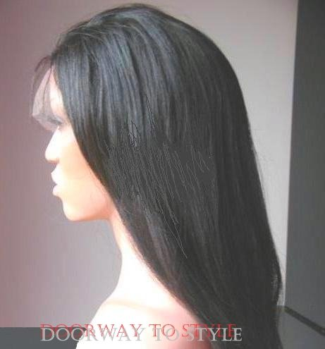 "12"" #1b---Yaki Straight 100% Indian Remy Full Lace Wig"