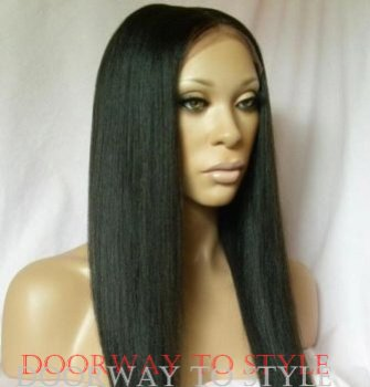 "18"" #1b---Yaki Straight 100% Indian Remy Full Lace Wig"