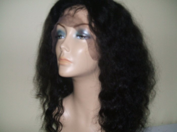 "20"" #1B---Deep Wave 100% Indian Remy Full Lace Wig"