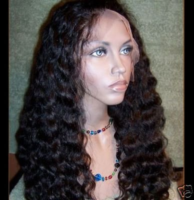 """14"""" #2---Curly/Deep Wave 100% Indian Remy Full Lace Wig"""