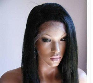 "14"" #1b---Yaki Straight 100% Indian Remy Full Lace Wig"