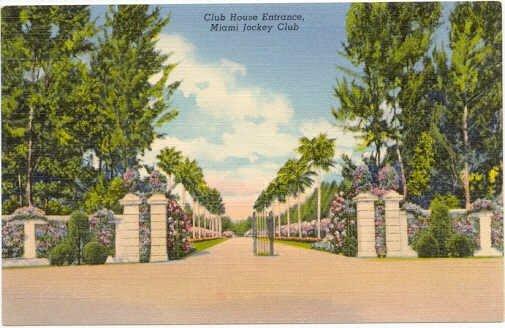 Miami Jockey Club, Hialeah Race Track Club Entrance, Miami, FL 1938 Curteich Postcard #0025