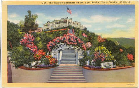 Wrigley Residence on Mt. Ada Avalon Bay Santa Catalina, CA 1940 Postcard #0051