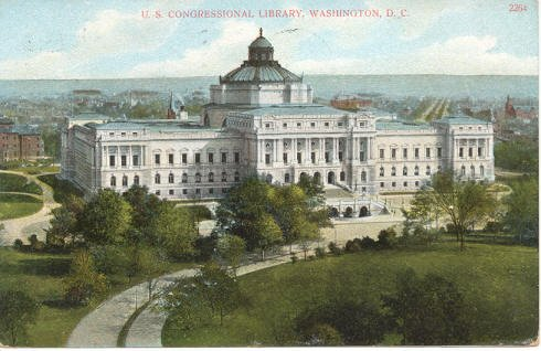 U.S. Congressional Library, Washington, DC Postcard circa 1908 #0221