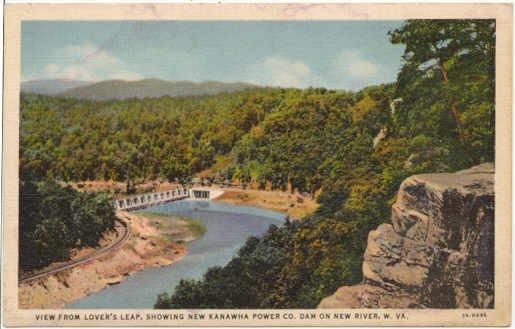 Lover�s Leap Kanawha Power Dam, New River, West Virginia  Postcard WV  1933  #0206