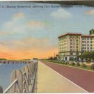 Murray Boulevard., Charleston, SC Postcard Fort Sumter Hotel and Docks 1940   #0077