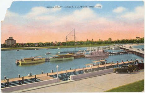 Small Craft Harbor - Gulfport, Miss Postcard  MS  circa 1940's  #0056
