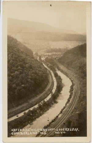 National Highway from Lover's Leap, Cumberland, MD RPPC US 40 postcard postmarked 1950  #0189