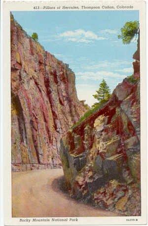 Pillars of Herculas Thompson Canon, Colorado Rocky Mountain National Park  CO Postcard c 1930s #0062