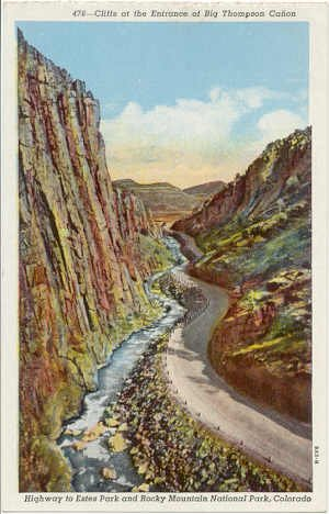 Cliffs Entrance Big Thompson Canon, Rocky Mountain National Park CO Postcard circa 1930s  #0064