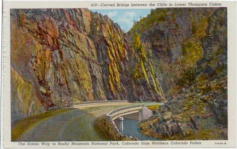 Curved Bridge  Lower Thompson Canon, Rocky Mountain National Park CO Postcard Circa 1930s #0065