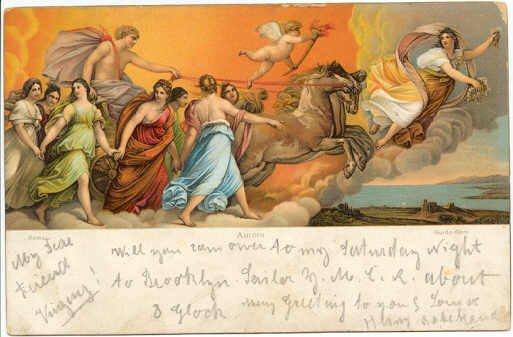 Aurora painting by Guido Reni,  Antique Art Postcard  Rotograph circa 1905 #0138