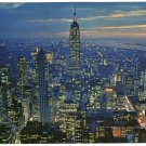 Twilight Birds eye view Empire State Building New York over-sized postcard circa 1950s   #0324