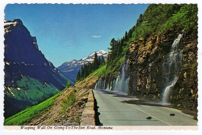 Weeping Wall on Going-To-The-Sun Road, Glacier National Park Montana   Postcard  #0328