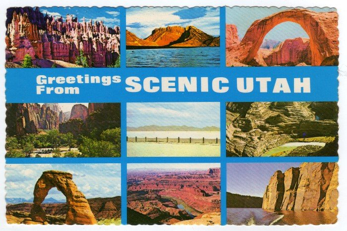 Greetings from Scenic Utah Multi-view Plastichrome Postcard  #0333